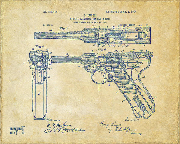 Cross Section Digital Art - 1904 Luger Recoil Loading Small Arms Patent - Vintage by Nikki Marie Smith
