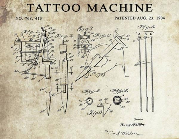 Wall Art - Drawing - 1904 Tattoo Machine Patent  by Dan Sproul