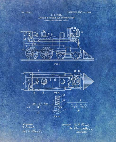Locomotive Drawing - 1904 Train Patent by Dan Sproul