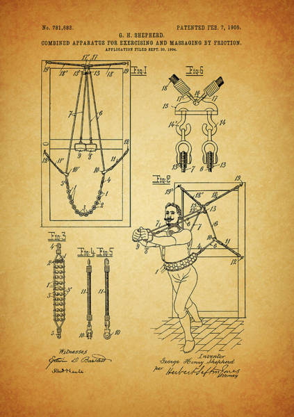 Fitness Mixed Media - 1905 Exercise Apparatus Patent by Dan Sproul