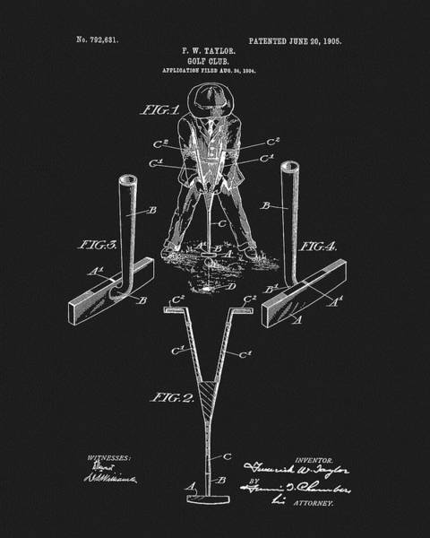 Drawing - 1905 Golf Club Patent by Dan Sproul