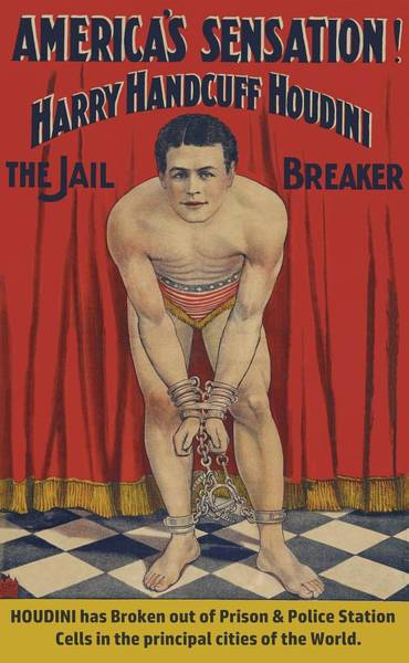 Drawing - 1905 Harry Handcuff Houdini Digitally Enhanced  by Movie Poster Prints