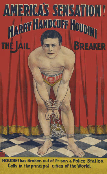 Drawing - 1905 Harry Handcuff Houdini No Enhancement by Movie Poster Prints
