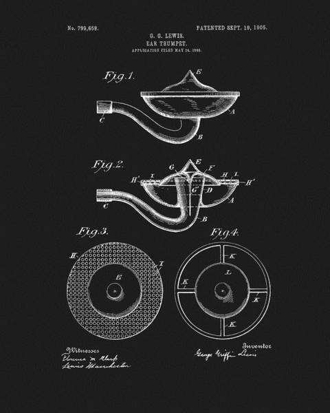Drawing - 1905 Hearing Aid Patent by Dan Sproul