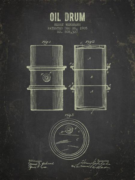 Drilling Rig Wall Art - Digital Art - 1905 Oil Drum Patent - Dark Grunge by Aged Pixel