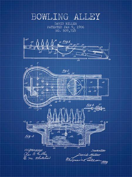 Petanque Wall Art - Digital Art - 1906 Bowling Alley Patent - Blueprint by Aged Pixel