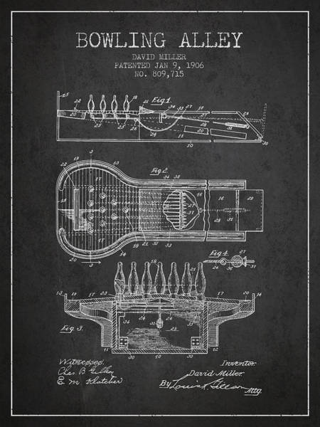 Petanque Wall Art - Digital Art - 1906 Bowling Alley Patent - Charcoal by Aged Pixel