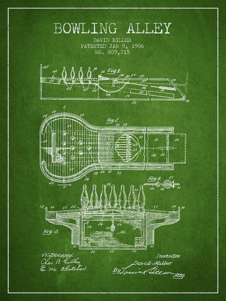 Wall Art - Digital Art - 1906 Bowling Alley Patent - Green by Aged Pixel