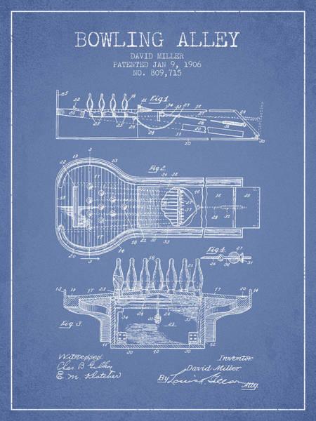 Petanque Wall Art - Digital Art - 1906 Bowling Alley Patent - Light Blue by Aged Pixel