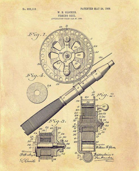 Mixed Media - 1906 Fishing Reel Patent by Dan Sproul