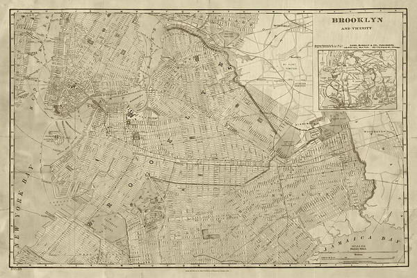 Photograph - 1906 Map Of Brooklyn Ny New York In Sepia by Toby McGuire