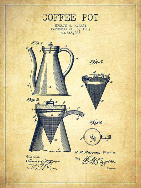 Coffee Wall Art - Digital Art - 1907 Coffee Pot Patent - Vintage by Aged Pixel