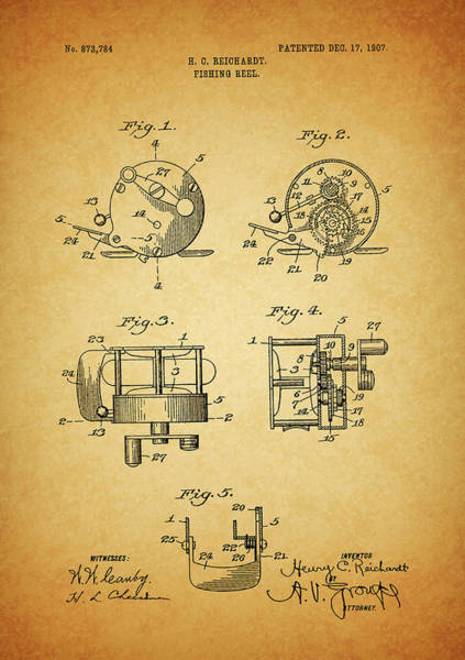 Mixed Media - 1907 Fishing Reel Patent by Dan Sproul