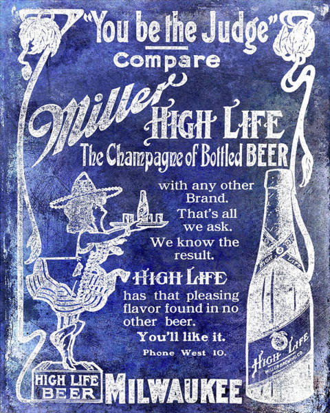 Wall Art - Photograph - 1907 Miller Beer Advertisement Blue by Jon Neidert