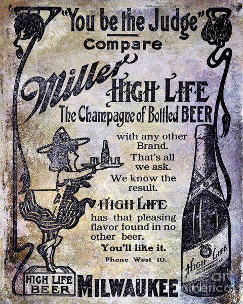 Wall Art - Photograph - 1907 Miller Beer Advertisement by Jon Neidert