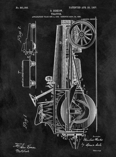 Drawing - 1907 Tractor Blueprint Patent by Dan Sproul