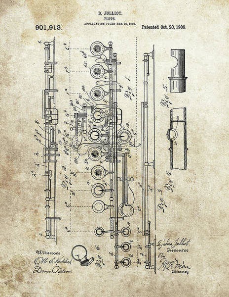 Wall Art - Drawing - 1908 Flute Patent by Dan Sproul