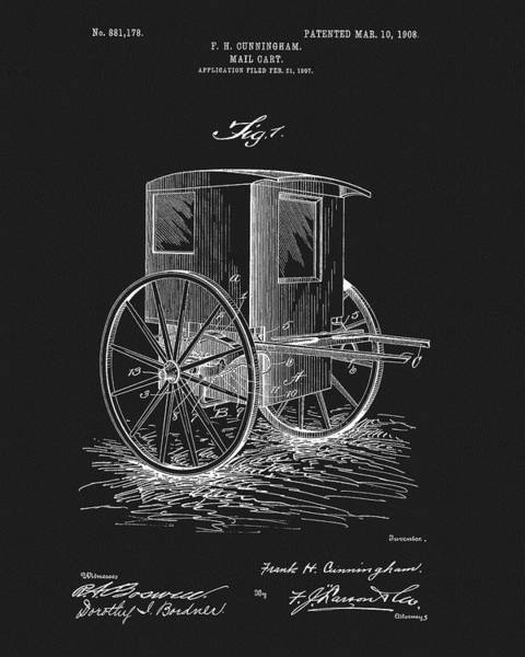 Wall Art - Mixed Media - 1908 Mail Cart Patent by Dan Sproul