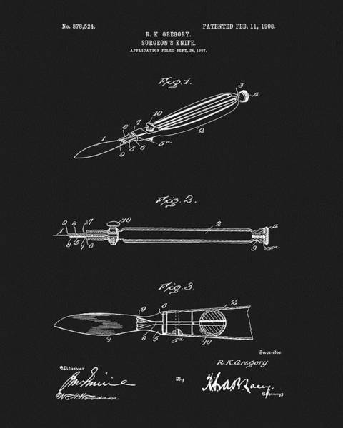 Drawing - 1908 Surgeon's Knife Patent by Dan Sproul