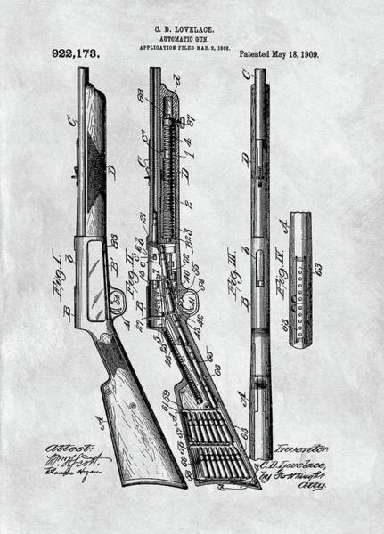 Practice Mixed Media - 1909 Automatic Rifle Patent by Dan Sproul