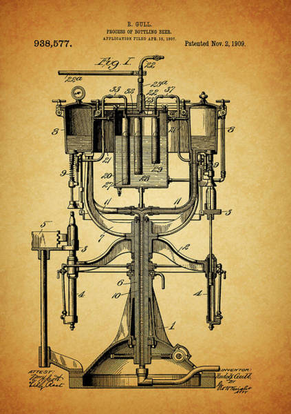 Drawing - 1909 Beer Bottling Machine Patent by Dan Sproul