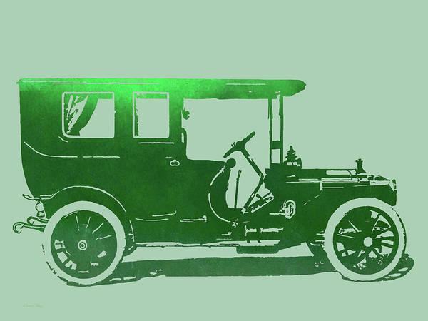 Digital Art - 1909 Packard Limousine Green Pop by David King