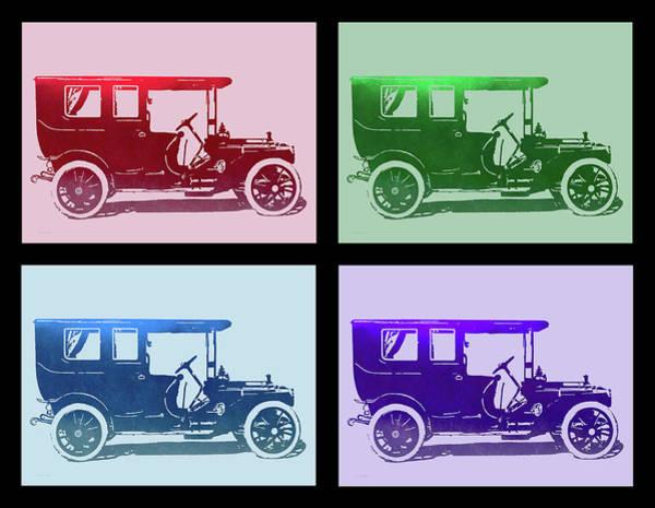 Wall Art - Digital Art - 1909 Packard Limousine Quad by David King