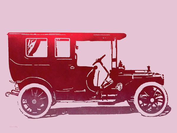 Digital Art - 1909 Packard Limousine Red Pop by David King