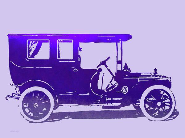 Digital Art - 1909 Packard Limousine Violet Pop by David King