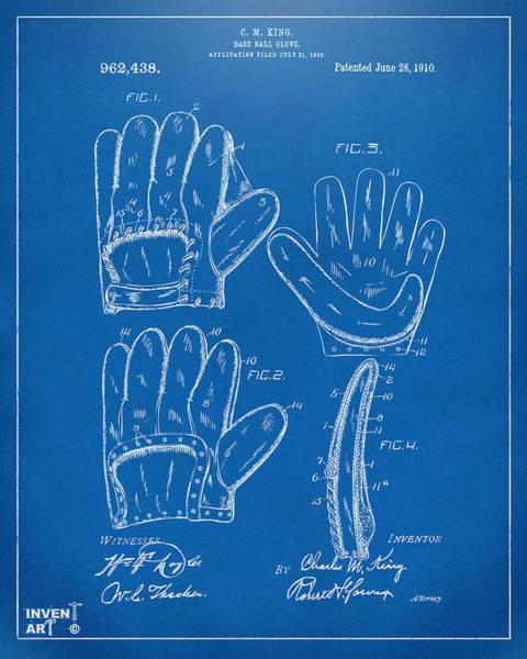 Digital Art - 1910 Baseball Glove Patent Artwork Blueprint by Nikki Marie Smith