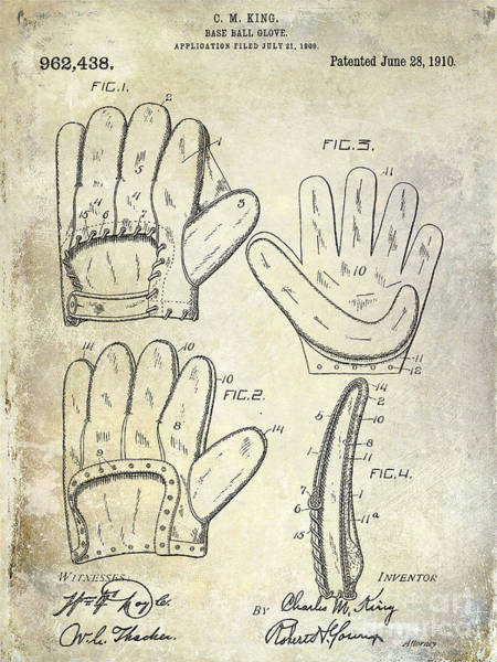 Wall Art - Photograph - 1910 Baseball Glove Patent  by Jon Neidert