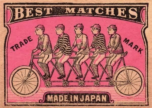 Matchbox Wall Art - Digital Art - 1910 Japanese Tandem Bicycle Matchbox Label  by Retro Graphics