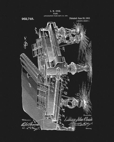 Mixed Media - 1910 Piano Patent by Dan Sproul