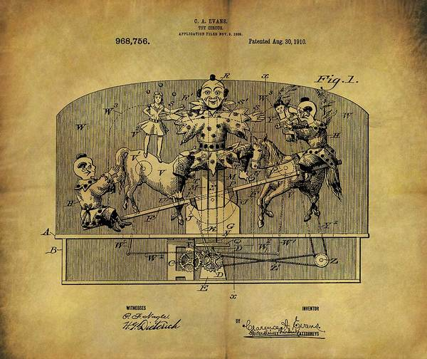 Wall Art - Drawing - 1910 Toy Circus Patent by Dan Sproul