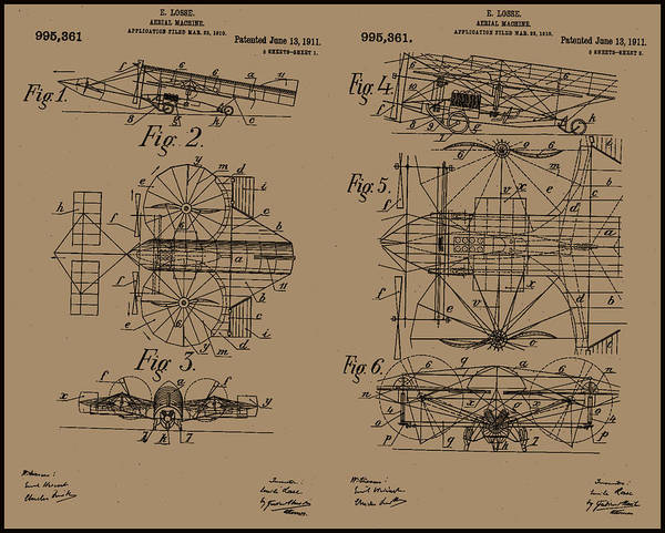 Painting - 1911 Aerial Machine Patent Drawing by Emile Losse