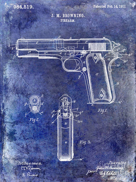 1911 Photograph - 1911 Firearm Patent Blue by Jon Neidert