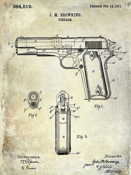 1911 Photograph - 1911 Firearm Patent by Jon Neidert