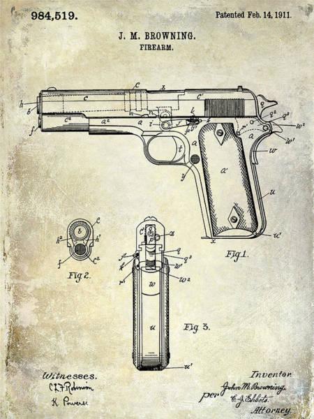 Wesson Photograph - 1911 Firearm Patent by Jon Neidert