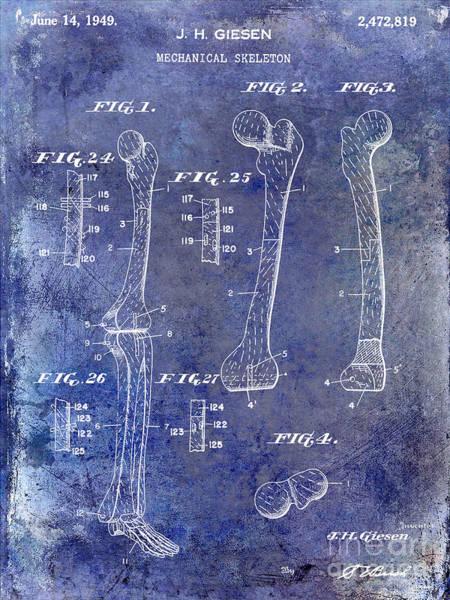 Anatomical Wall Art - Photograph - 1911 Mechanical Skeleton Patent 1 Blue by Jon Neidert