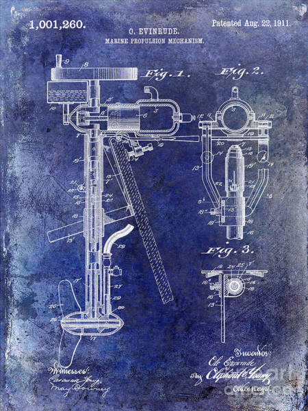 Fly Fishing Photograph - 1911 Outboard Boat Motor Patent by Jon Neidert
