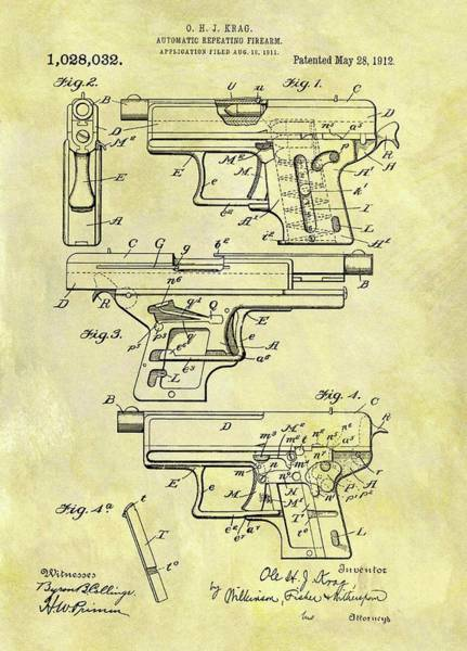 Drawing - 1912 Automatic Pistol Patent by Dan Sproul