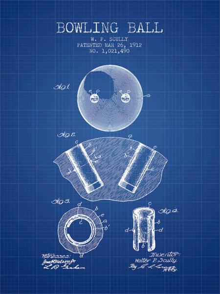 Petanque Wall Art - Digital Art - 1912 Bowling Ball Patent - Blueprint by Aged Pixel