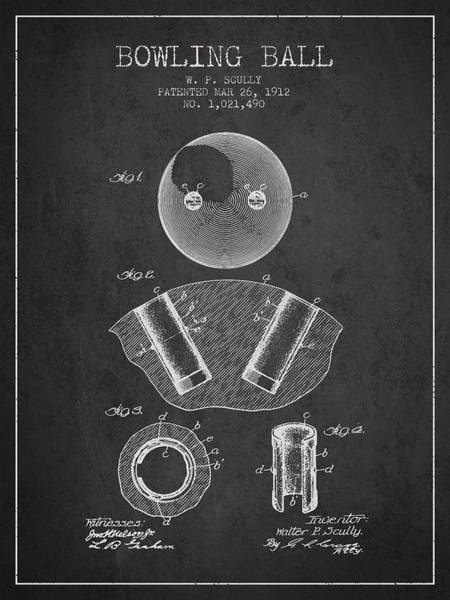 Bowling Ball Wall Art - Digital Art - 1912 Bowling Ball Patent - Charcoal by Aged Pixel