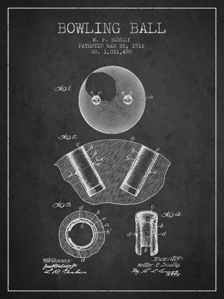 Petanque Wall Art - Digital Art - 1912 Bowling Ball Patent - Charcoal by Aged Pixel