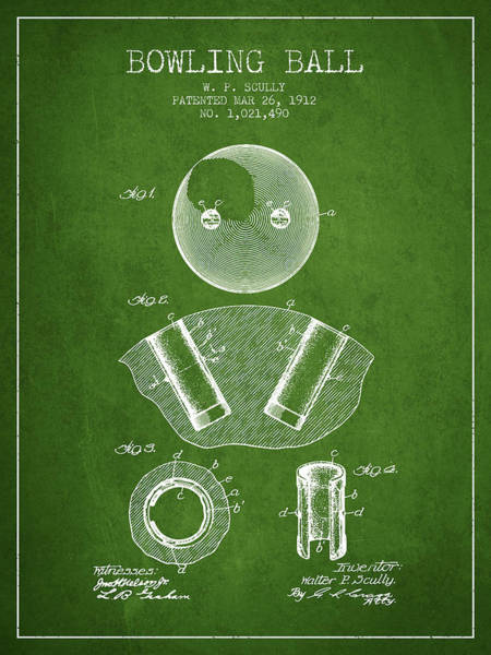 Bowling Ball Wall Art - Digital Art - 1912 Bowling Ball Patent - Green by Aged Pixel