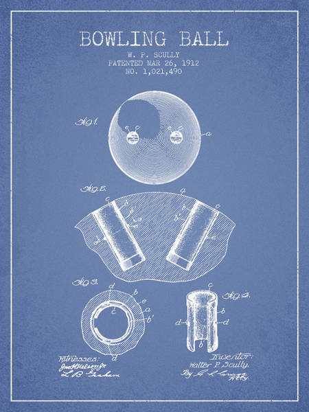 Bowling Ball Wall Art - Digital Art - 1912 Bowling Ball Patent - Light Blue by Aged Pixel