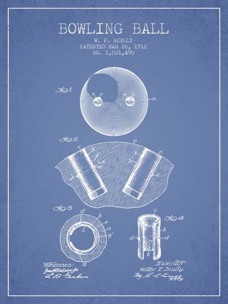 Petanque Wall Art - Digital Art - 1912 Bowling Ball Patent - Light Blue by Aged Pixel