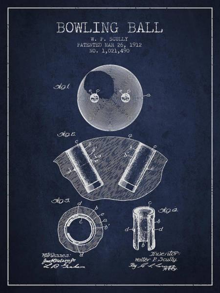 Petanque Wall Art - Digital Art - 1912 Bowling Ball Patent - Navy Blue by Aged Pixel