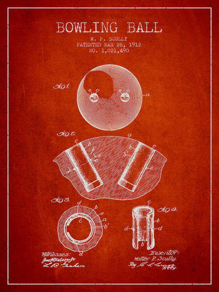 Bowling Ball Wall Art - Digital Art - 1912 Bowling Ball Patent - Red by Aged Pixel