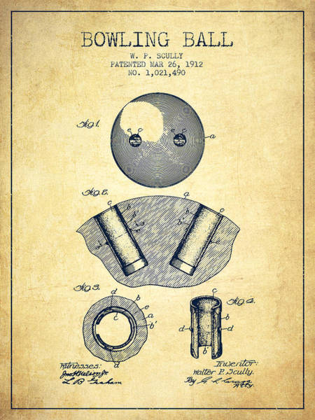 Bowling Ball Wall Art - Digital Art - 1912 Bowling Ball Patent - Vintage by Aged Pixel